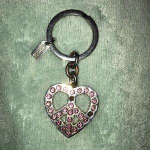 Rare COACH Heart Peace-Sign Rhinestone Keychain